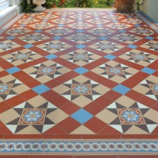 Original Style – VFT – Blenheim pattern with Telford border in Red, Blue, Buff, Brown and White