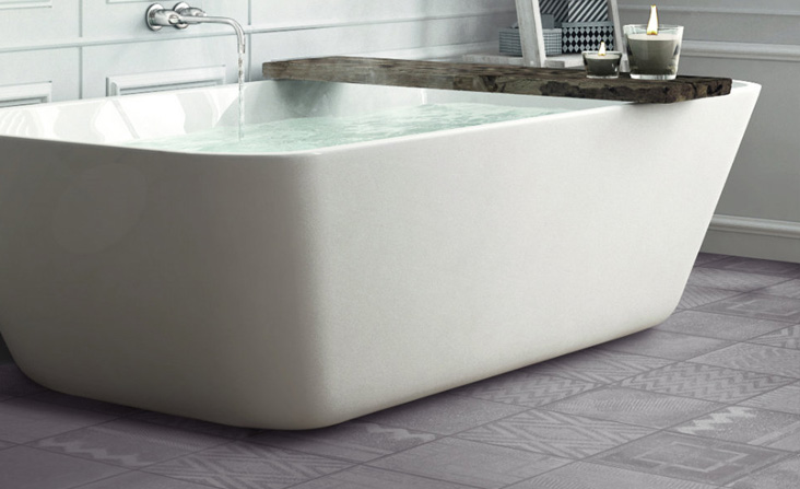 Snowdon is a porcelain floor tile that is practical and looks stunning in a bathroom