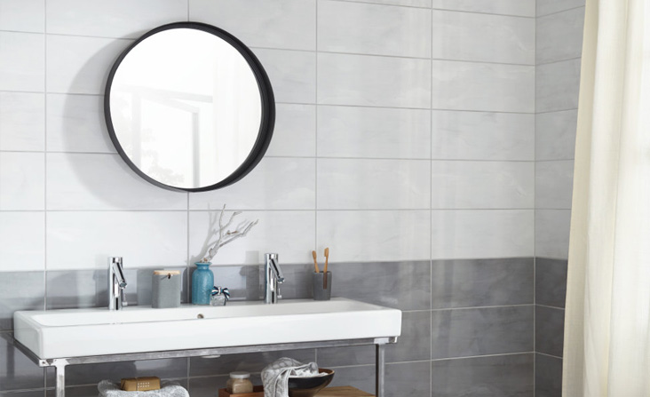 Stockholm is glazed ceramic wall tile that looks amazing and sophisticated as a bathroom wall