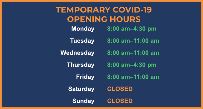 COVID Opening Hours Jan 2021 (Bury)